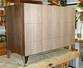 Walnut Vanity Cabinet in production